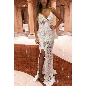 White Slit Sleeveless Lace Dress