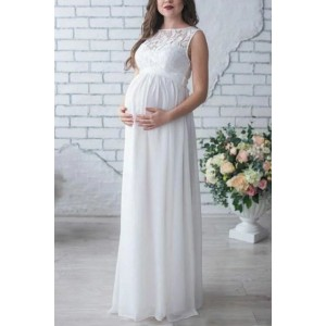 White Lace Patchwork Sleeveless A-line Maternity Dress (1)