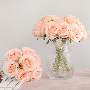 Solid Artificial Rose Bouquets Wedding Table Flowers