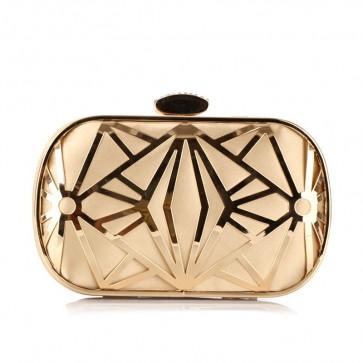 Lady's Hollow Black and Gold Messenger Bag Girls Evening Mini Handbag TCDBG0119
