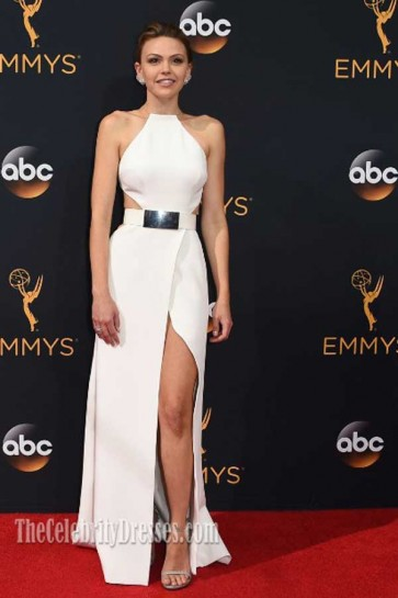 Aimee Teegarden White Halter High Slit Cut Out Dress HBO Emmys 2016