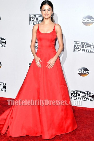 Selena Gomez Red Formal Dress 2016 American Music Awards Evening Gown
