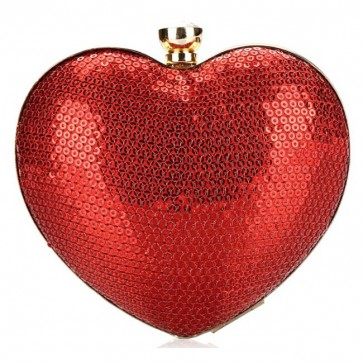 Fashion Ladies Elegant Handbag Sequins Heart-Shaped Evening Bag 4