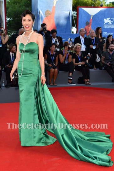 Chinese actress Liang Ke Dark Green Evening Prom Gown Red Carpet Dress On The Venice Film Festival 3