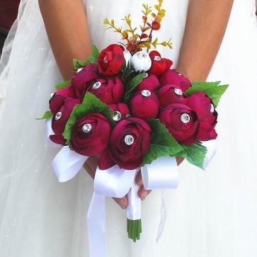 Burgundy Round Artificial Flower Bridal Bouquets