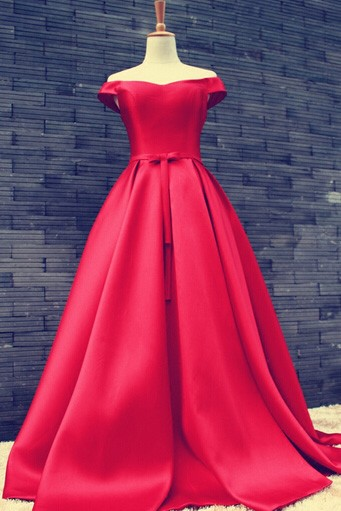 Women's Red Off-The-Shoulder Satin Ball Gown Prom Evening Dress Simple Red Carpet Gown 5