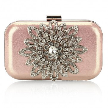 Lady's Elegant Diamond Evening Bag Sunflower Rhinestone Mini Handbag Purse