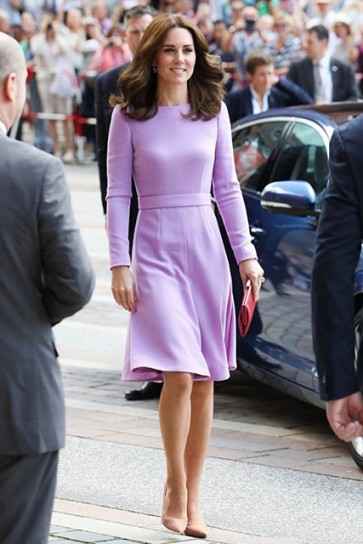 Kate Middleton Lavender Elegant Long Sleeves Cocktail Dress Official Visit To Germany