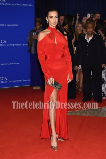 Adriana Lima Red Cutout Cold-shoulder Evening Prom Gown102nd White House Correspondents' Association Dinner  2