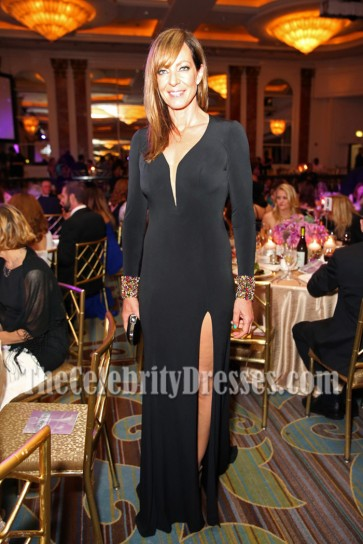 Allison Janney Black Long Sleeves Backless Evening Dress 41st Annual Gracie Awards 2