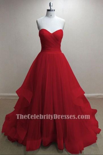 Wunderschöne rote Tüll Schatz trägerlosen Ballkleid Prom Kleider