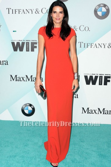 Angie Harmon Rot Kurzarm Abendkleid In Film 2015 Crystal + Lucy Awards TCD6167