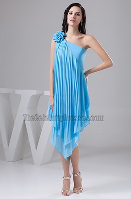 Asymmetric Blue One Shoulder Cocktail Party Graduation Dresses