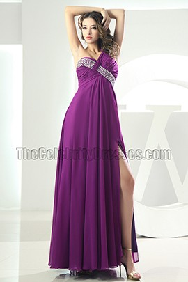 Sexy Backless Purple One Shoulder Prom Gown Evening Dress
