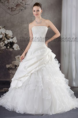 Ball Gown Beaded Strapless Chapel Train Wedding Dresses