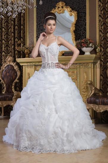 Ball Gown Spaghetti Straps Beaded Chapel Train Wedding Dres