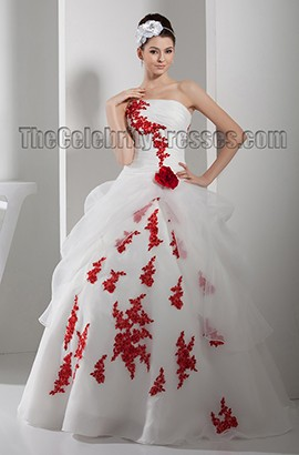 Ball Gown Strapless Embroidered Floor Length Wedding Dress