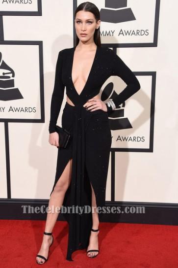 Bella Hadid Grammys 2016 sexy schwarz ausschnitt Abendkleid