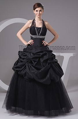 Black Halter A-Line Floor Length Formal Dress Prom Gown