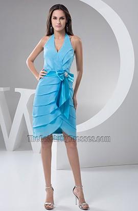 Schickes Blaues Halfter Chiffon Cocktail Abschlussfeier Kleid Thecelebritydresses