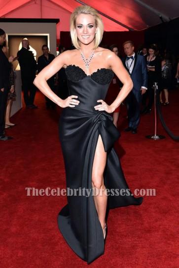 Carrie Underwood schwarzes trägerloses formales Kleid Grammy 2016 roter Teppichkleid