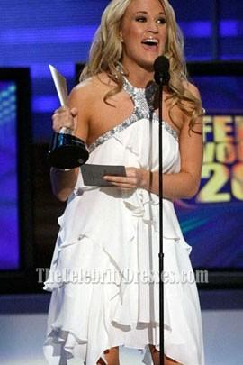 Carrie Underwood Halter White Short Cocktail Party Dress Celebrity dresses
