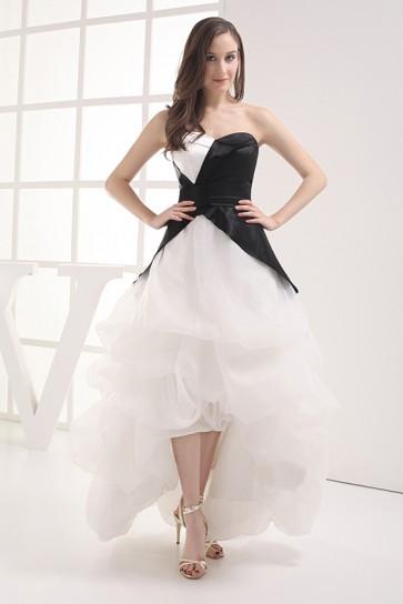 Celebrity Inspired White And Black Strapless Formal Dressed