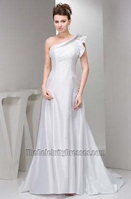 Celebrity Inspired Chapel Train One Shoulder Taffeta Wedding Dresses