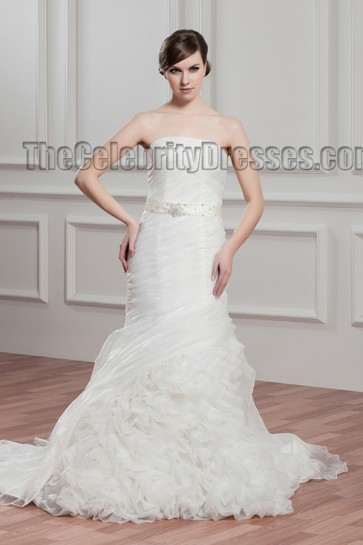 Celebrity Inspired Mermaid Strapless Organza Wedding Dress