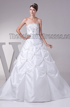 Celebrity Inspired Strapless Beaded Ball Gown Wedding Dress