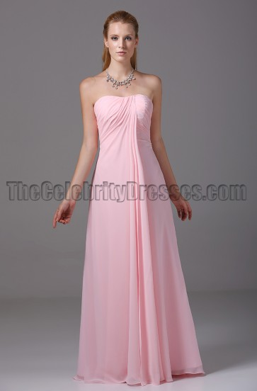 Discount Pink Strapless Bridesmaid Prom Dresses