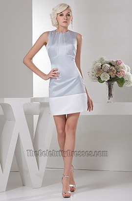 Silver And White Short Party Homecoming Graduation Dresses