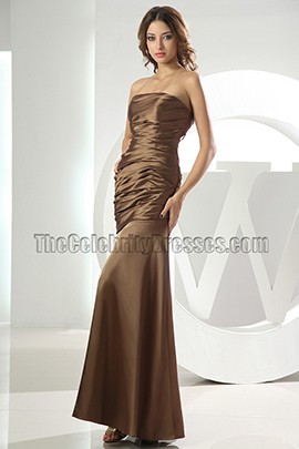 Discount Simple Strapless Bridesmaid Dress Prom Gown