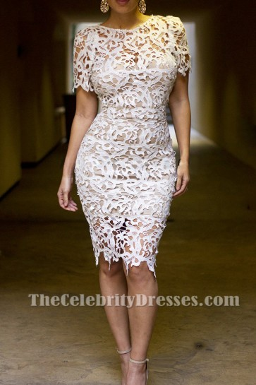 Discount White Lace See Through Cocktail Party Dresses TCDTB008