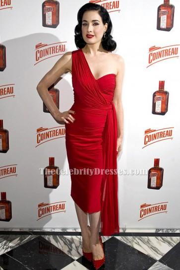 Dita Von Teese Rot Ein Schulter Cocktail Partykleid