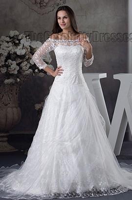 Elegant Off-the-Shoulder Lace Beaded Chapel Train Wedding Dress
