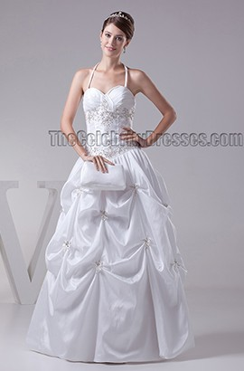 Floor Length Halter Lace Up A-Line Wedding Dresses