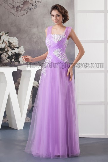 Floor Length Lilac Tulle Embroidered Prom Evening Dresses