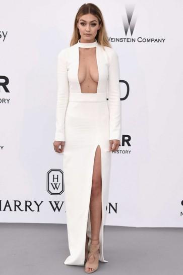 Gigi Hadid Sexy Ivory Long Sleeve Evening Dress 2015 AmfAR TCD6338