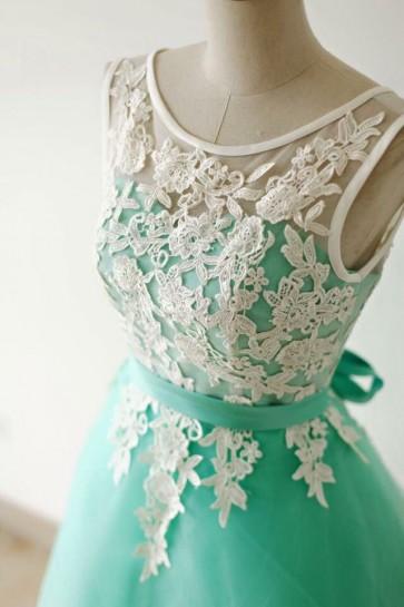 Gorgeous Mint A-Line Heimkehr Party Graduierung Kleider