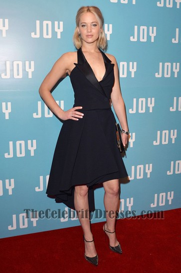 Jennifer Lawrence kurzes schwarzes Partykleid 'Joy' London Screening