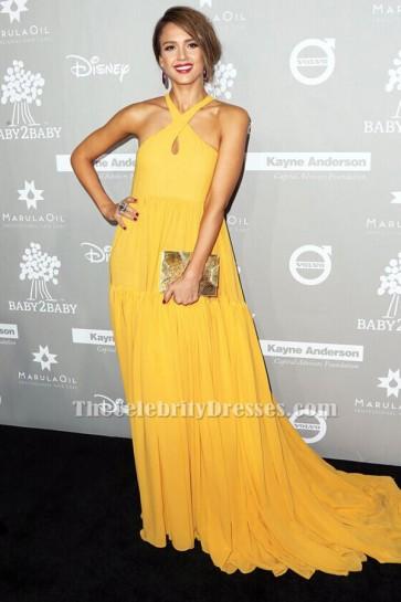 Jessica Alba gelb Abendkleid 2015 Baby2Baby Gala