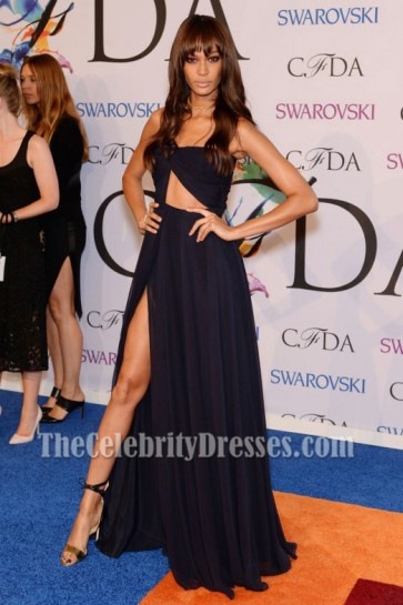 Joan Smalls dunkel navy Ausschnitt Abendkleid 2014 CFDA Fashion Awards