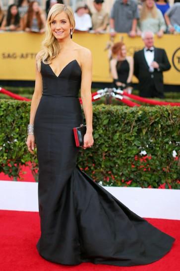 Joanne Froggatt Schwarzes trägerloses Meerjungfrau formales Kleid 2015 SAG Awards Roter Teppichkleid TCD6191