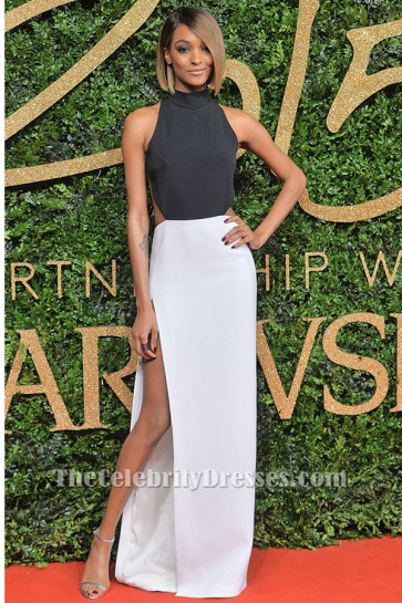 Jourdan Dunn sexy Schwarz-Weiß-Abendkleid 2015 British Fashion Awards