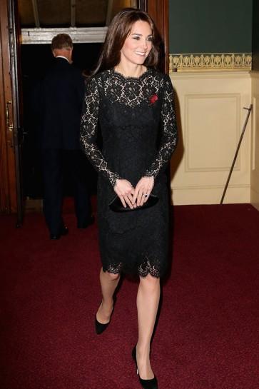 Kate Middleton Schwarzes Spitze-Cocktailkleid am Festival der Erinnerung TCD6392