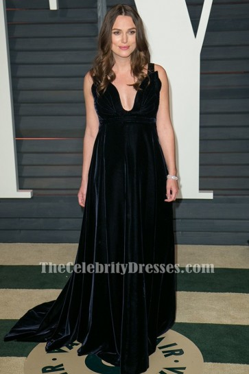 Keira Knightley Schwarzes Samt-Abendkleid Vanity Fair Oscar Party 2015