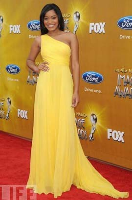 Keke Palmer Elegant Yellow One Shoulder Prom Evening Dress