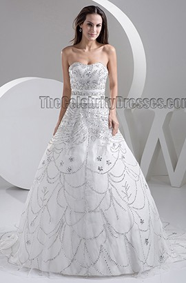 Luxury Strapless Hand Made Beaded A-Line Sweep Brush Train Wedding Dress