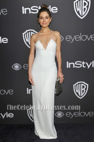 Maria Menounos Sexy Weiß Abendkleid 73. Jährliche Golden Globe Awards Post-Party